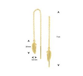Gouden doortrek-oorbellen veer