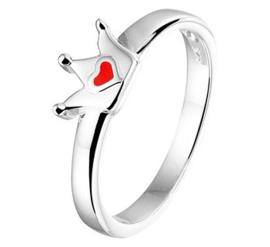 Zilveren kinderring kroon rood hart