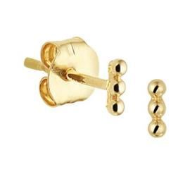 Gouden oorknopjes rij bolletjes