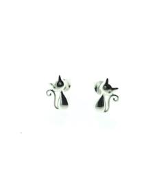 Zilveren oorstekers kat