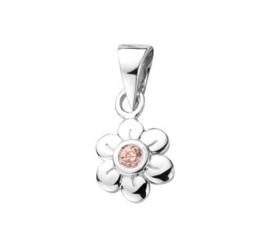 Zilveren kinder kettinghanger bloem roze zirkonia