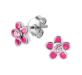 Zilveren oorstekers roze bloem zirkonia