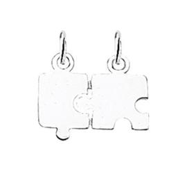 Zilveren kettinghanger breekplaat puzzel
