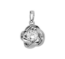 Zilveren kettinghanger bloem zirkonia