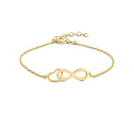 Armband infinity en hart 1,3 mm 16 + 3 cm