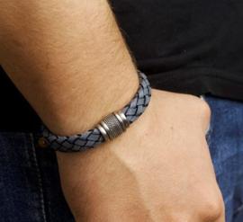 Armband blauw leer 12 mm 21 cm