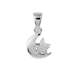 Zilveren kinder kettinghanger maan/ster zirkonia