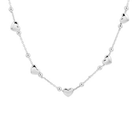 Zilveren set:ketting en armband met hartjes