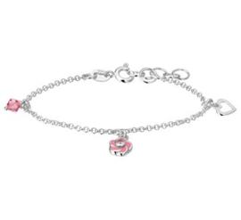Zilveren kinderarmband bedels roze