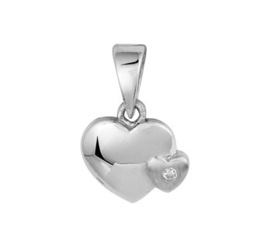 Zilveren kinder kettinghanger hartjes zirkonia