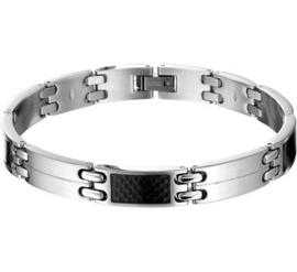 Stalen armband carbon poli/mat 9 mm 22 cm