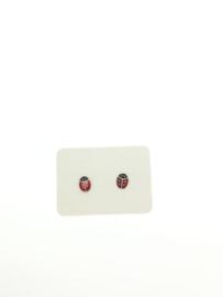 Zilveren oorstekers lieveheersbeestje rood