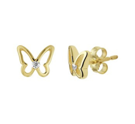 Gouden oorstekers vlinder met steentje