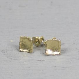 Vierkante oorstekers zilver verguld