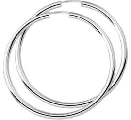 Zilveren dikke oorringen 60 mm
