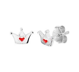 Zilveren oorstekers kroon rood hart