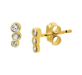 Gouden oorknopjes 3 steentjes