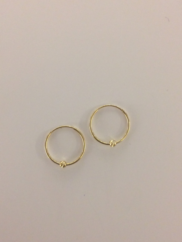 Gouden oorringen met balletje, 11,5 mm