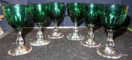 6 Bristol groene wijnglazen ca 1820