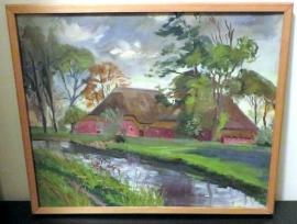 Landschap schilderij  boerderij aanzicht.