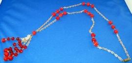Rode vintage halsketting
