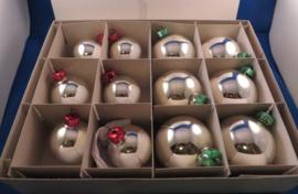 Doos met 12 vintage retro kerstballen