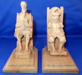 Don Quichot en Sancho Panza houten boekensteunen - Midden 20e eeuw