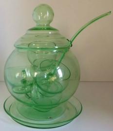 Annagroen glazen bowlset.