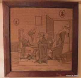 Geborduurde volkskunst gezelschap uit 18de of 19de eeuw
