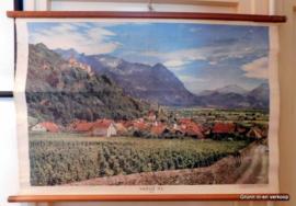 Oude schoolplaat op linnen, Vaduz (FL) Rheintal