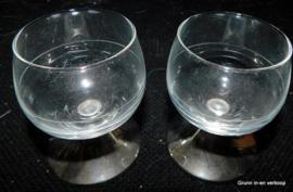 2 Likeurglaasjes - Likeurglazen op Verzilverd Voet