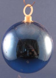 Blauwe vintage, retro kerstbal