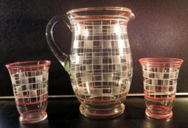 Art Deco waterkan met glazen
