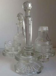 Antiek kristallen olie- en azijnstel - ca 1880 -1900