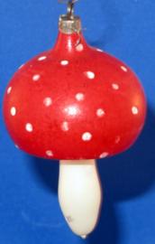 Oude rode Vintage kerstbal, paddenstoel
