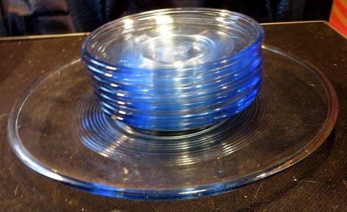 Glazen gebakschaal + borden