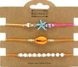 Bracelet Set 3pcs Starfish-Pearls-Shell | Oranje