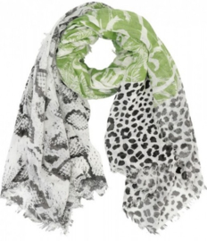 Scarf with Snake-Panther-Palmtree Print