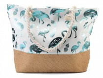 Strandtas Flamingos and pineapples | Blauw-wit