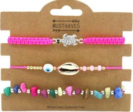 Bracelet Set 3pcs Shell-Stones-Turtle | Pink