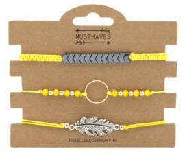 Bracelet Set 3pcs Feather-Circle