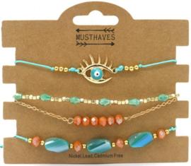 Bracelet Set 4pcs Eye