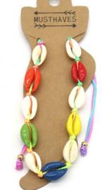 Enkelbandje met schelpen | Multicolor
