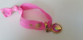Knoop armband Roze met goud