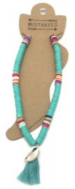 Anklet with Surf Beads - Tassel -Shell