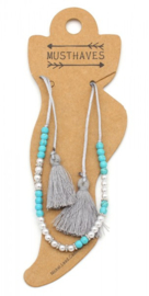 Anklet with Pearls-Stones-Tassels