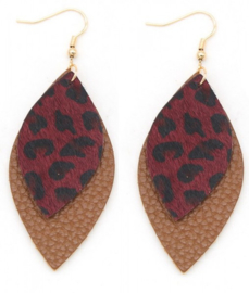 Leather Earrings with Animal Print