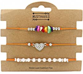 Bracelet Set 3pcs Pearls-Stones-Heart
