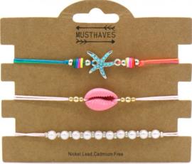Bracelet Set 3pcs Starfish-Pearls-Shell | Roze