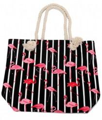 Strandtas Flamingos Zwart/wit